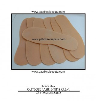 Outsole karet pasir tipis krem/gum (sol potong)